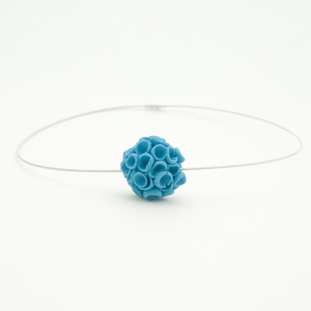 Khao-Lak Sterling Silver Necklace With Porcelain Flowers, Blue Color